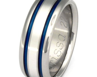 Unique Titanium Wedding Ring - Platinum Ring - Thin Blue Line Ring - w8
