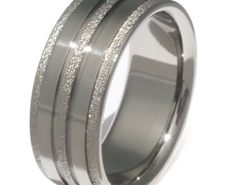 Frost Titanium Wedding Band or Engagement Ring with Polished Finish - f22