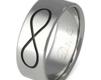 Infinity Titanium Wedding Band - Black Titanium Ring - n28 Black