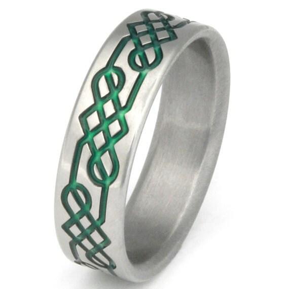 titanium celtic promise ring green shield