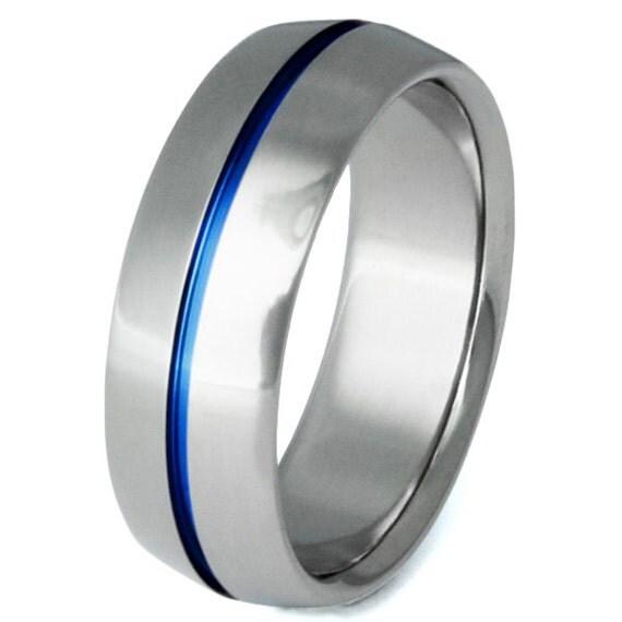Titanium Ring - Thin Blue Line - Hand Carved Centered Blue Groove - Unique Blue Titanium Ring - b6