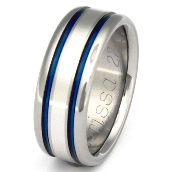 Unique Titanium Wedding Ring - Platinum Ring - Thin Blue Line Ring - w8