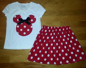 Disney World Cruise Mickey Minnie Mouse Polka Dot Skirt Outfit Size 12M 18M 24M 2 3 4 5 6 7 8 9 10