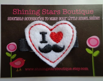 Hair Accessories - Felt Hair Clip - Hair Clips - Red, Black, And White Embroidered Boutique Felt 'I Heart Mustaches' Hair Clippie For Girls