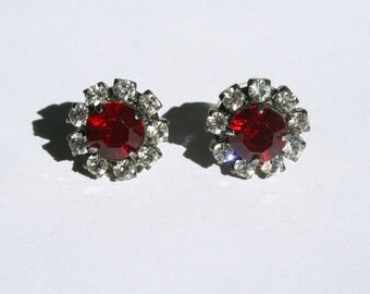 Vintage Red and White Rhinestone Earrings