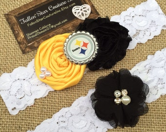 Wedding garter / Pittsburg garter Steelers  / wedding  garter SET / bridal  garter/  lace garter /NFL garter / football garter