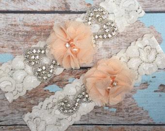 Peach Wedding garter / Lace garter SET / bridal  garter / vintage lace garter / chiffon flower / toss garter / wedding garter
