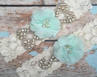 Seafoam  Wedding garter / Lace garter SET / bridal  garter / vintage lace garter / chiffon flower / toss garter / weddin