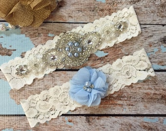 Something blue Wedding garter / Lace garter SET / bridal  garter / vintage lace garter / toss garter / wedding garter/ baby blue