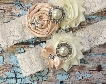 Wedding garter / BLUSH garter SET / wedding garters / bridal garter/ lace garter / vintage lace garter