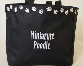 Miniature Poodle Tote Bag, Carrier, Personalized,Embroidered