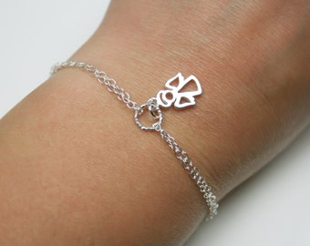 Double Chain Tiny Angel Bracelet in Sterling Silver- Guardian Angel Bracelet - Adjustable Bracelet