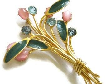Vintage Green Enamel, Pink Glass Moonstones and Blue Rhinestones Floral or Flower Brooch or Pin