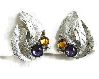 "Vintage Glass Topaz & Amethyst Cabochons Silver Tone Leaf ""Silvery Splendor"" Earrings signed Sarah Coventry"