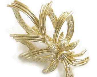 VintageTextured and Smooth Gold Tone Leaf and Bow Brooch or Pin