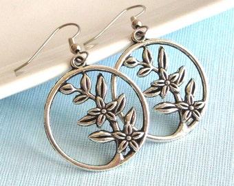 Flower Hoop Earrings - Silver Hoop, Flower Jewelry, Nature Jewelry, Pewter Earrings
