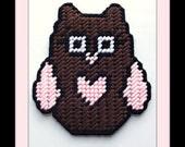 7 count Plastic canvas pdf pattern Pink heart owl magnet refrigerator magnet pink yarn brown yarn black yarn white yarn