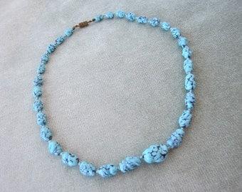 Vintage Blue with Black Swirls Czech Glass Beads Necklace / 1920s