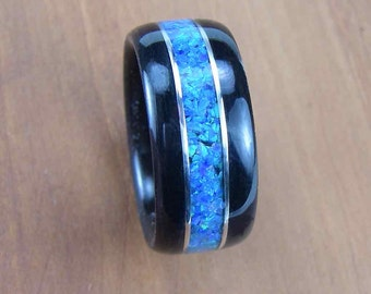 Bentwood Mens Ring Ebony with Blue Opal inlay with Sterling Silver accents