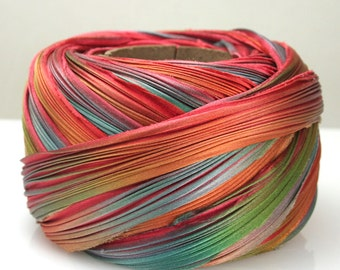 1/2 yd Shibori Ribbon Hand Dyed Silk Ribbon Feather Shibori Girl Glennis Dolce