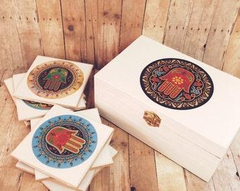 Hamsa hand box set Wooden box and Hamsa Ceramic Coaster Set of 9 Best wedding shower gift recipes box inspirational gift best friend gift