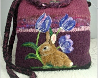 Felted Purse, Felted Handbag,Bunny in the Tulips, Rabbit Art, Bunny Art, Needle Felt Bunny,FREE SHIPPING