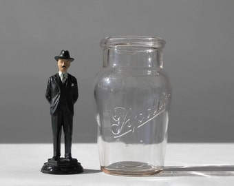 Antique Embossed Apollo Chocolates Glass Display Bottle, FH Roberts Company, Boston, Advertising Jar