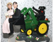 Dog Driving Tractor, Wedding Cake Topper, Persoanlized, Custom