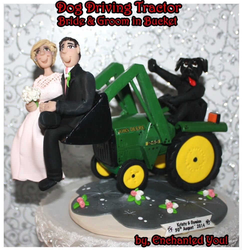 Dog Driving Tractor Wedding Cake Topper By EnchantedYou54449