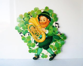 Vintage 1980's St Patrick's Day Decoration Leprechaun Paper Decoration Party Decoration Three Leaf Clover Die Cut