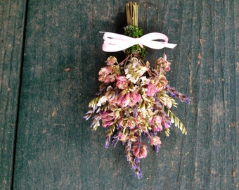 Shabby Chic all Natural dried flower corsage for a spring, garden, rustic, nature themed wedding.