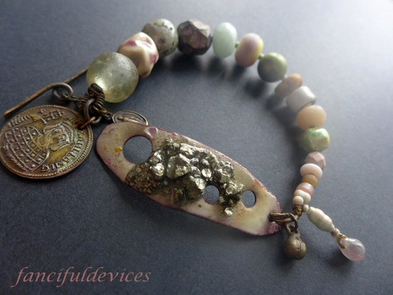 Eudaimonia. Rustic assemblage bracelet with lilac and green art beads, enamel connector.