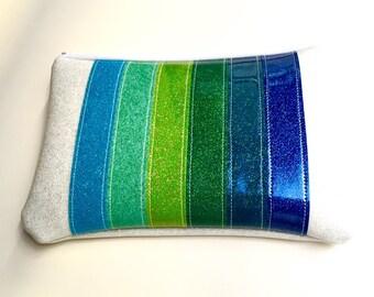 Zipper Pouch - Glitter Green Rainbow - Lined