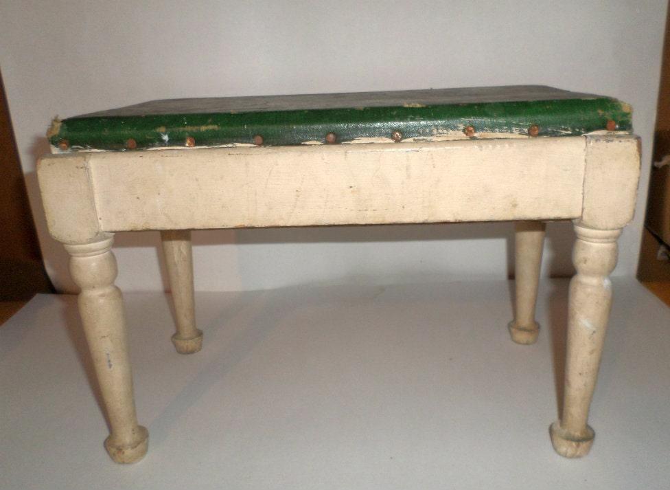 Wooden Stool Tops ~ Vintage wooden stool green naugahyde top footstool step