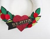 Be Mine Wreath, Valentine's Day Wreath, Heart and Arrow Wreath, Yarn and Felt Wreath, 12 inch size - Ready to Ship