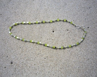 Lime Glass and Metal Necklace