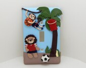 Safari Sports Themed  Light Switch Cover or Outlet Cover - Lion, Monkey - Sports Nursery - Jungle Nursery - Polymer Clay - Toggle or Rocker