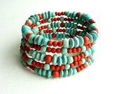 SMARTIES Turquoise&Orange Beaded Bracelet, Memory Wire Cuff, Eco Friendly Wooden Beads Bracelet, Sea and Sand Bangle, Light Weight Bangle