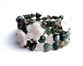 Hylas and the Nymphs - Memorywire Bracelet in Moss Agate and Rose Quartz