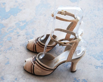 vintage 40s High Heels - Strappy Beige and Brown Stripe Heels 1940s Peep Toe Sandals Sz 5.5 36
