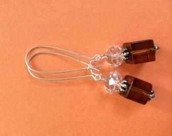 Smoky Topaz Cube Earrings