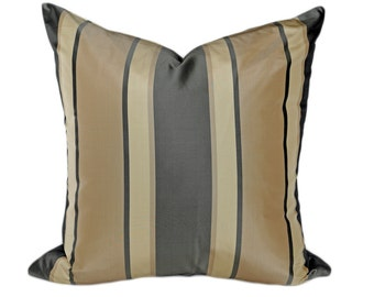 Modern Grey Striped Pillow, Luxury Silk Pillow Cover, Cream Charcoal Grey Tan Stripes, Mens Decorative Throw Pillows, 20x20