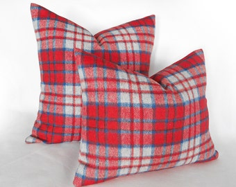 Red Grey Wool Plaid Pillows, Red Rustic Pillows, Plaid Throw Pillow Covers, Rustic Country Decor, 14x18 Lumbar Pillow, Wool Cushion Cover