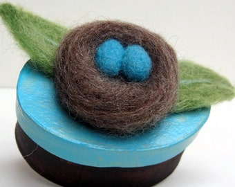 Needle Felted Rustic Bird's NEST with Blue EGGS on Paper Mache Box - Original Art GIFT