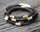Silver  Gold Leather Wrap Bracelet, Karen Hill Tribe Rugged Unisex Bangle Fit Bracelet, Grey Brown, Boho Bohemian, Men or Women Bracelet