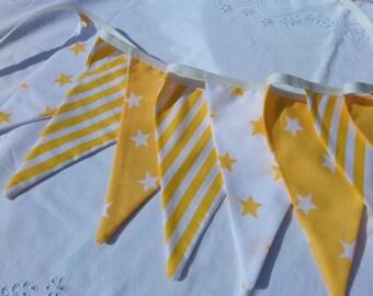 Sunshine yellow bunting - Fabric Garland, Wedding Bunting, Nursery decoration was 21 dollars