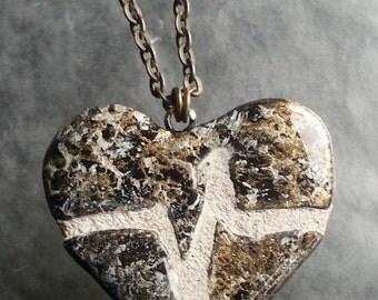 Broken Heart Bronze Clay Necklace : Mosaic Tile Heartbeat Pendant