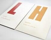 valentine double love set - letterpress printed flashcard notecard