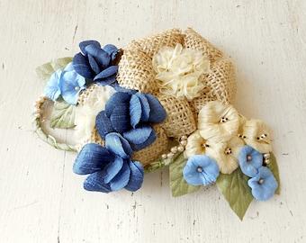 Wedding Custom Floral Hair Piece - Headband - Handmade Silk Dupioni flowers - Blue, Beige, Champagne, Rustic