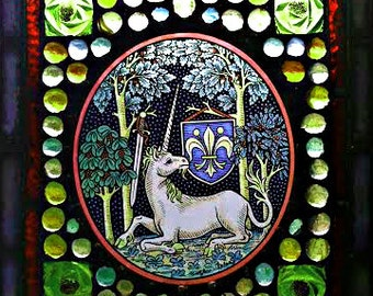 Small Medieval Style Mosaic Stained Glass Unicorn Window